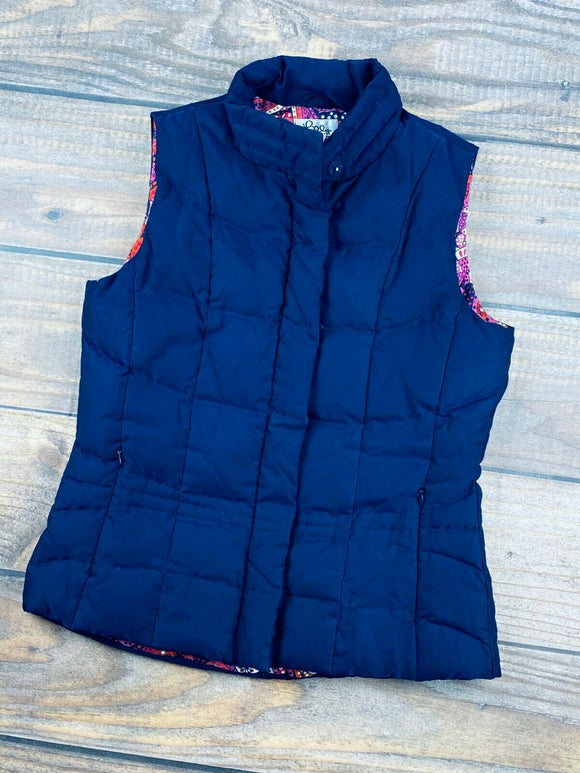 Lily Pulitzer Down Quilted Winter Puffer Vest Paisley Lined Navy Blue Women's XS - Vintage Buffalo Sports