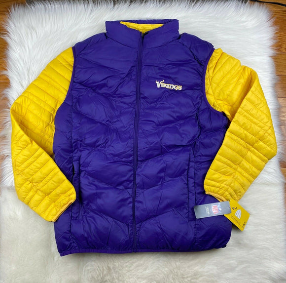 Minnesota Vikings 3 in 1 Puffer Jacket + Puffer Vest Gold Purple G-III NFL Men L - Vintage Buffalo Sports
