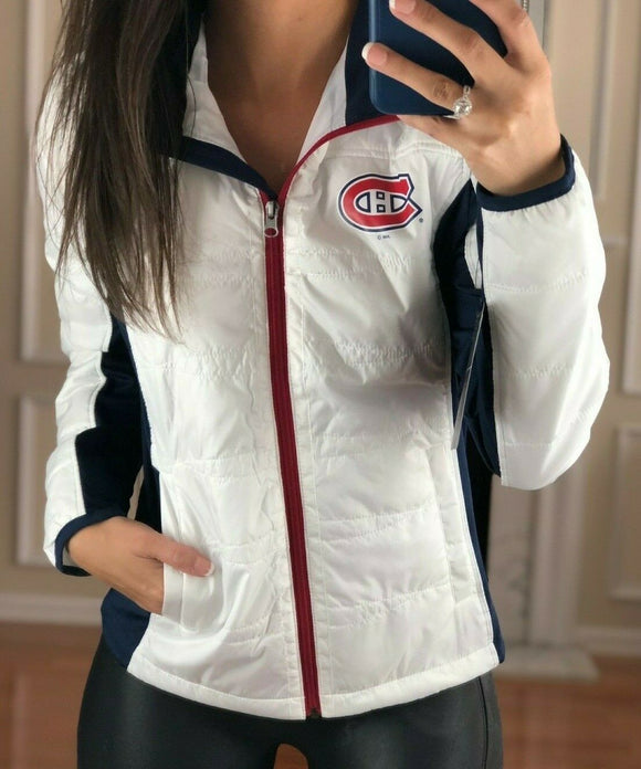 Montreal Canadiens Full Zip Quilted Puffer Jacket, White, Women's S, NHL G-III - Vintage Buffalo Sports