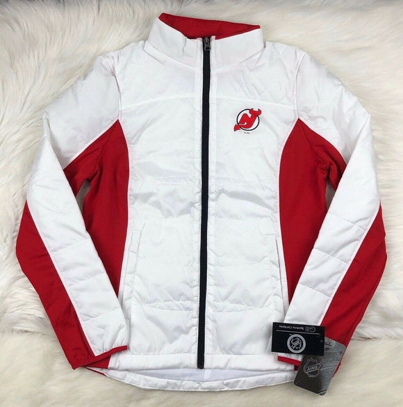 New Jersey Devils Full Zip Quilted Puffer Jacket, White, Women's S, NHL G-III - Vintage Buffalo Sports
