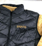 New Orleans Saints 3 in 1 Puffer Jacket + Puffer Vest Black + Gold G-III NFL 6XL - Vintage Buffalo Sports