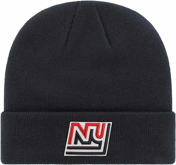 New York Giants NFL Cuffed Knit Winter Beanie Hat Navy Vintage Logo Adult - Vintage Buffalo Sports