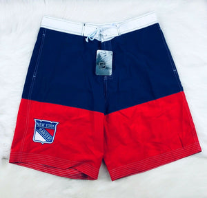 "New York Rangers NHL NHL 10"" Lace Up Classic Board Shorts Swim Surf Trunks Men - Vintage Buffalo Sports"