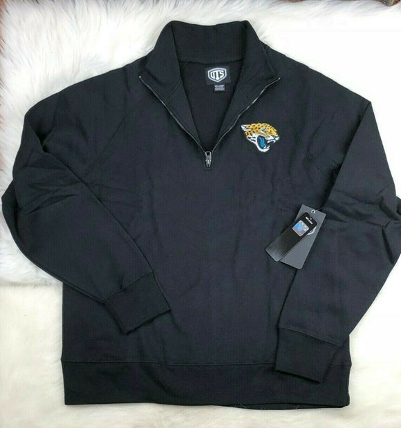 NFL Jacksonville Jaguars 1/4 Zip Twill Pullover Track Jacket Men's 2XL Black - Vintage Buffalo Sports