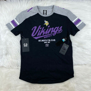 NFL Minnesota Vikings Short Sleeve NFC North Tee Shirt, Black, Gray Men's M NWT - Vintage Buffalo Sports