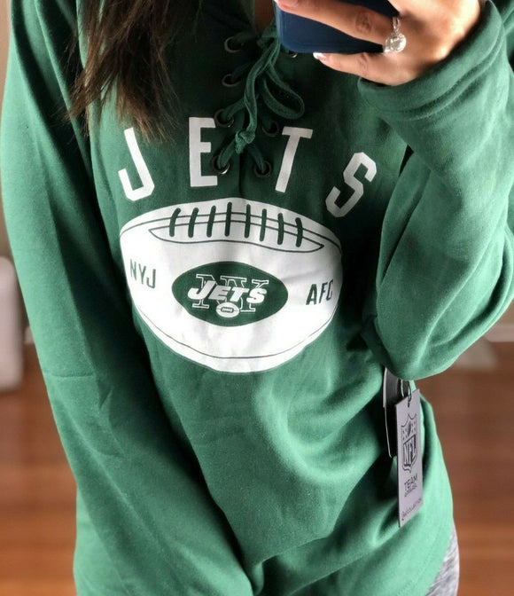 NFL New York Jets Lace Up Soft Poly Jersey Style Sweater, Green, Women XL - Vintage Buffalo Sports