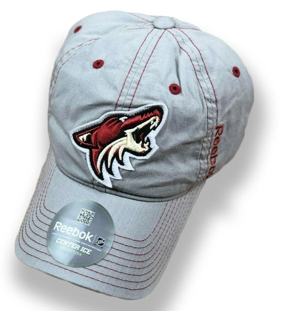 NHL Arizona Coyotes Reebok Center Ice Flex Brim Adjustable Strapback Hat Gray - Vintage Buffalo Sports