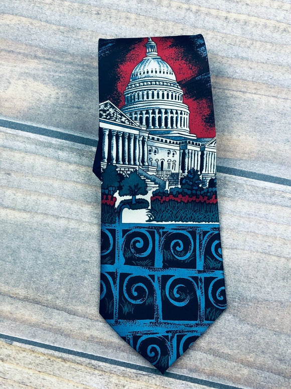 Rene Chagal Men's Tie, Necktie USA United States Capital Building Red & Blue 4