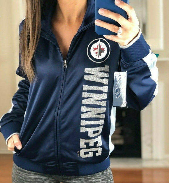 Winnipeg Jets Performance Full Zip Metallic Print Track Jacket, Women's M NHL - Vintage Buffalo Sports