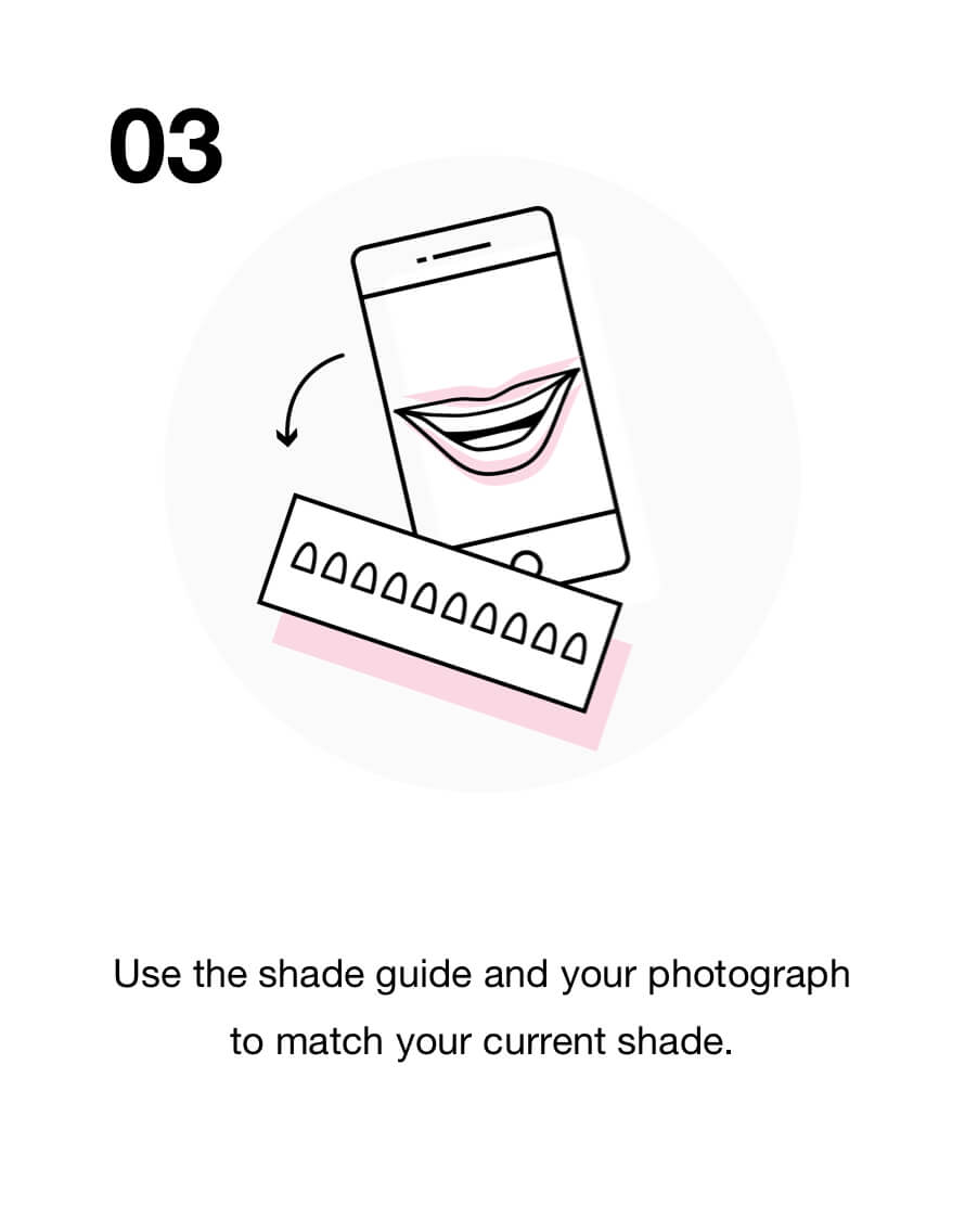 Use the shade guide and your photograph to match your current shade