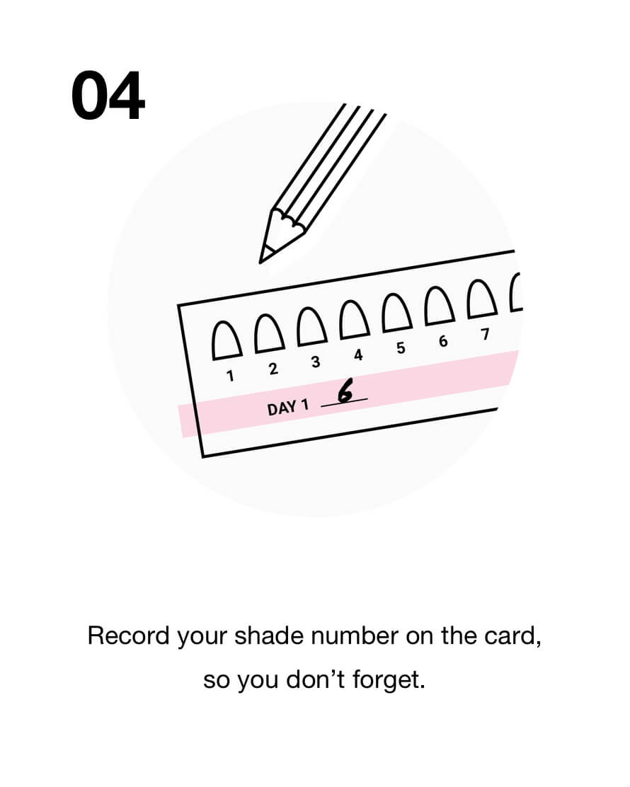 Record your shade number on the card, so you don't forget