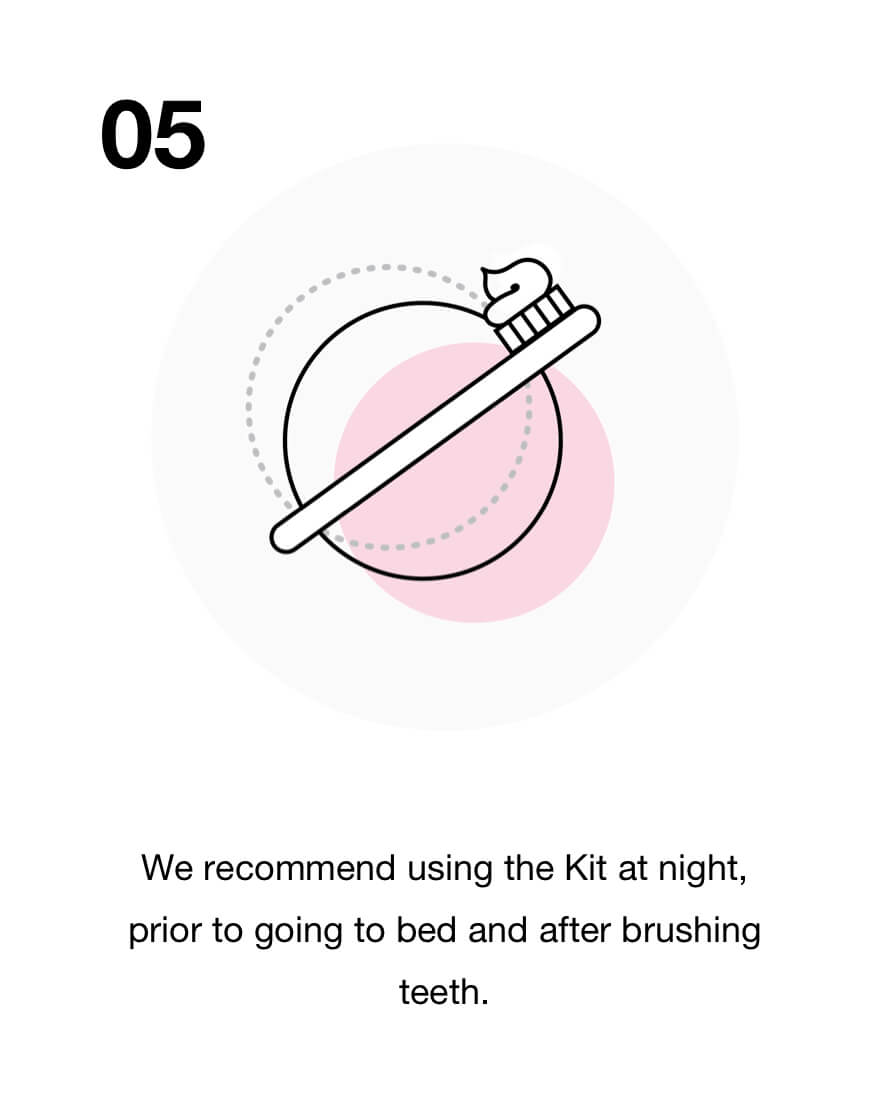 We recommend using the Kit at night, prior to going to bed and after brushing teeth.
