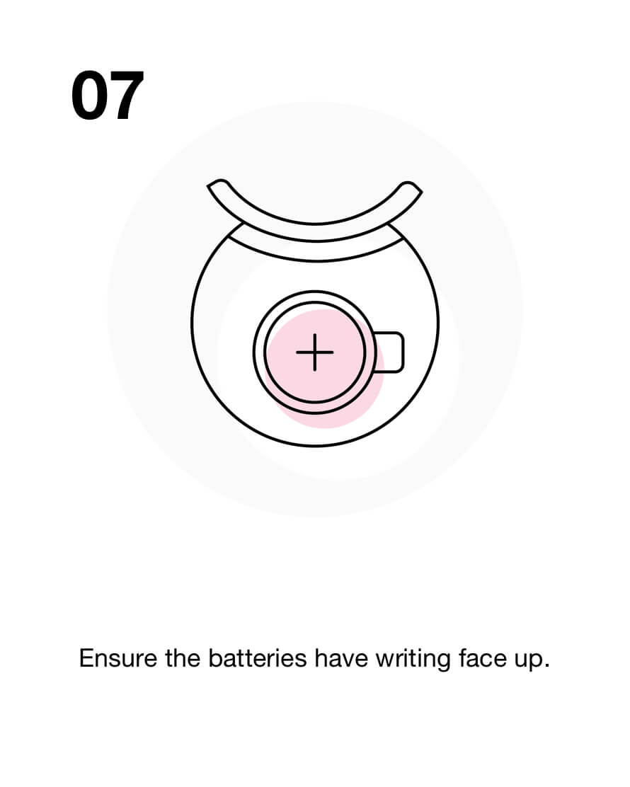 Ensure the batteries have writing face up.