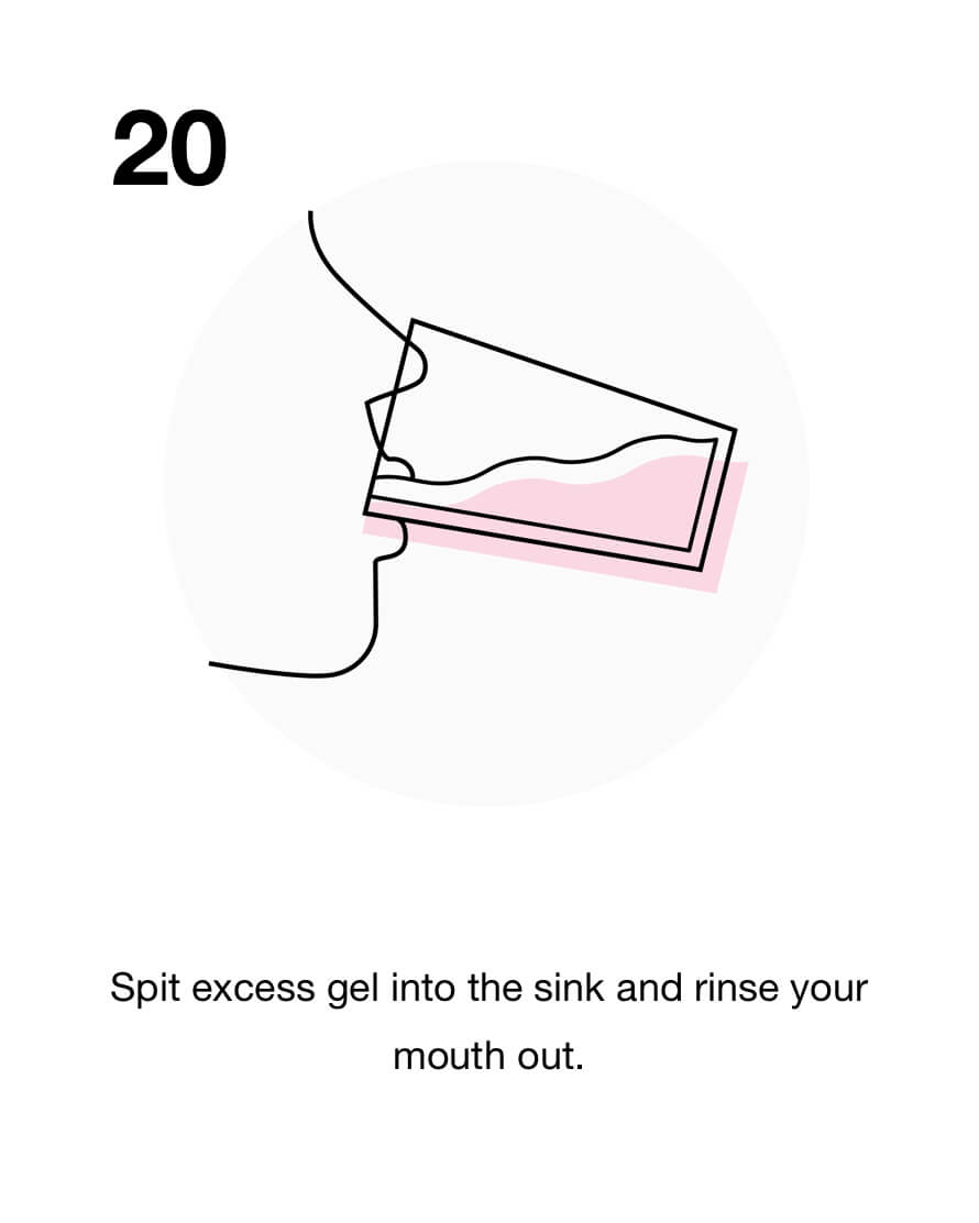 Spit excess gel into the sink and rinse your mouth out.