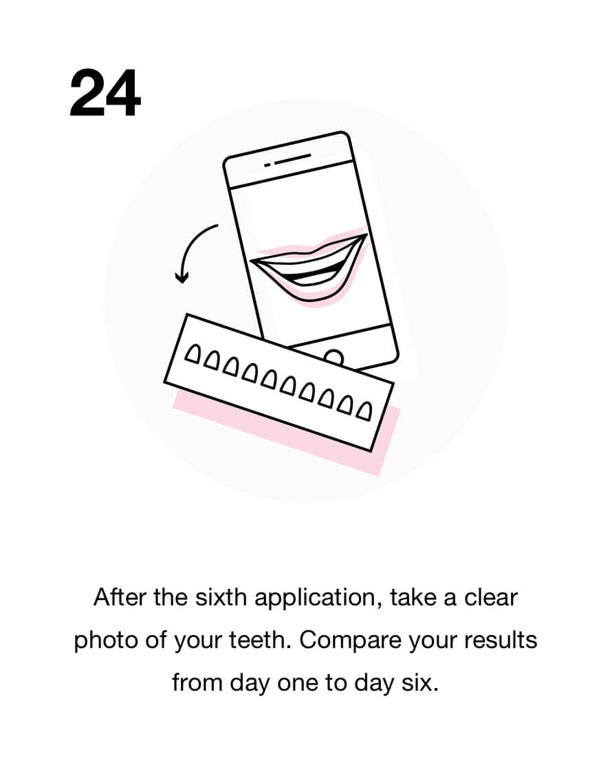 After the sixth application, take a clear photo of your teeth. Compare your results from day one to day six.