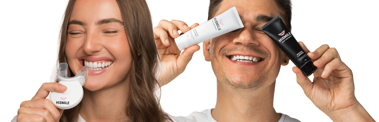 girl and guy holding hismile products