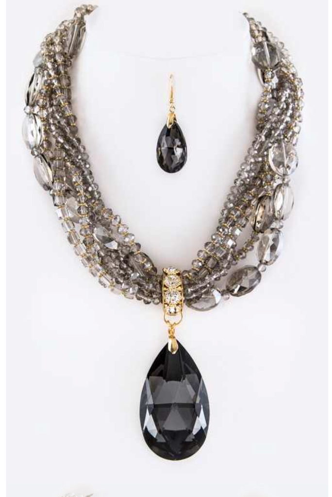 Onyx Teardrop Statement Necklace
