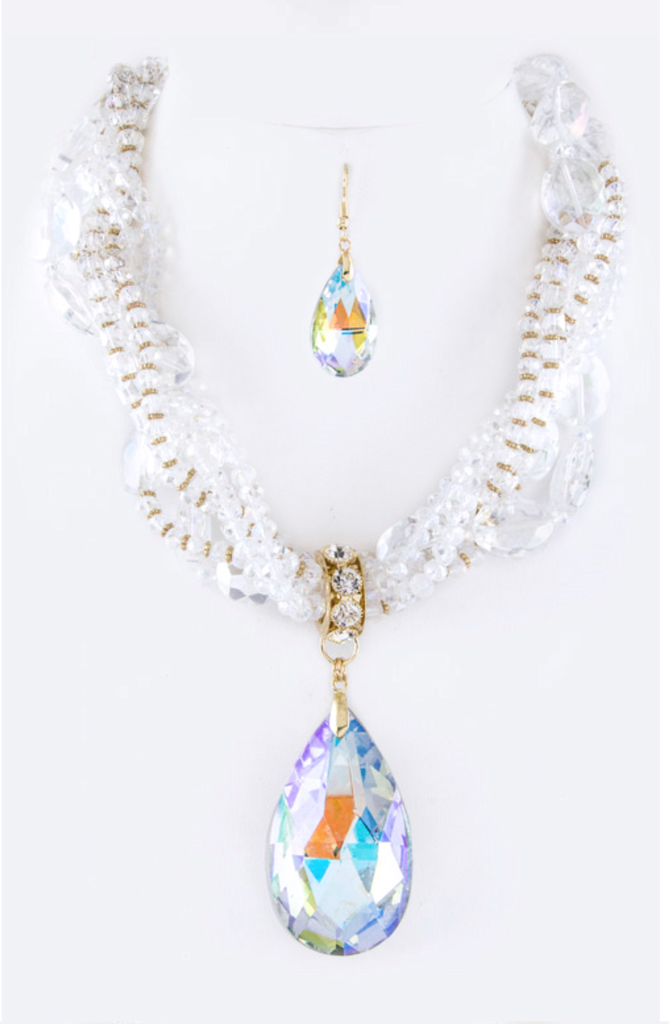 Teardrop Aurora Borealis Statement Necklace