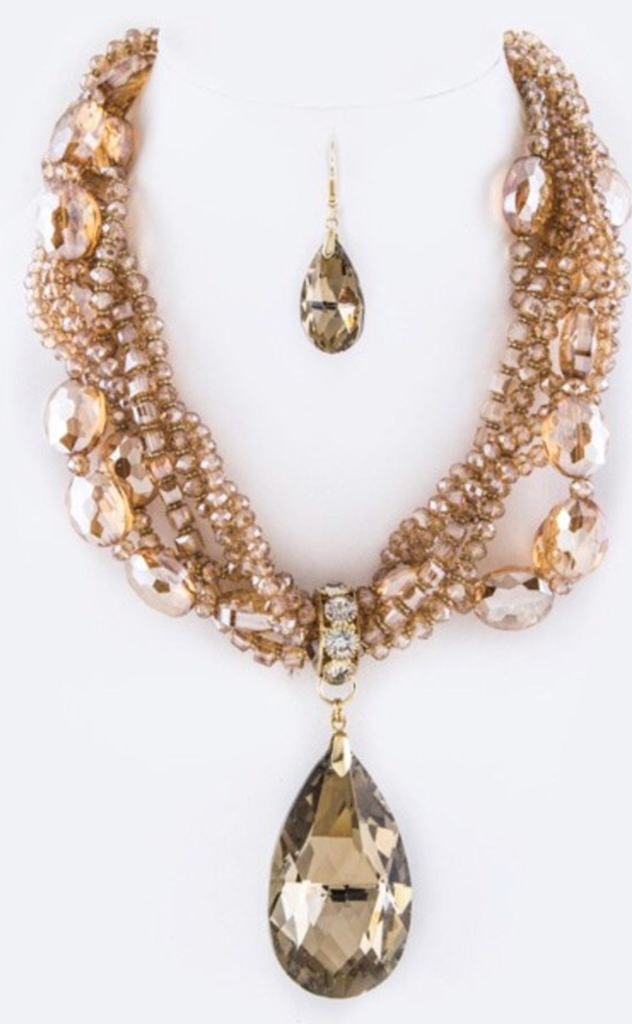 Teardrop Brushed Gold Statement Necklace