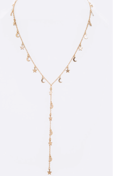 Moon & Stars Drop Necklace