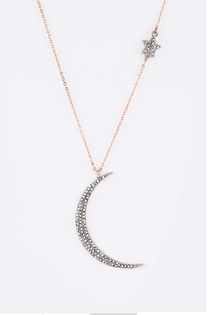 "Crystal Half Moon & Star 18"" Necklace"