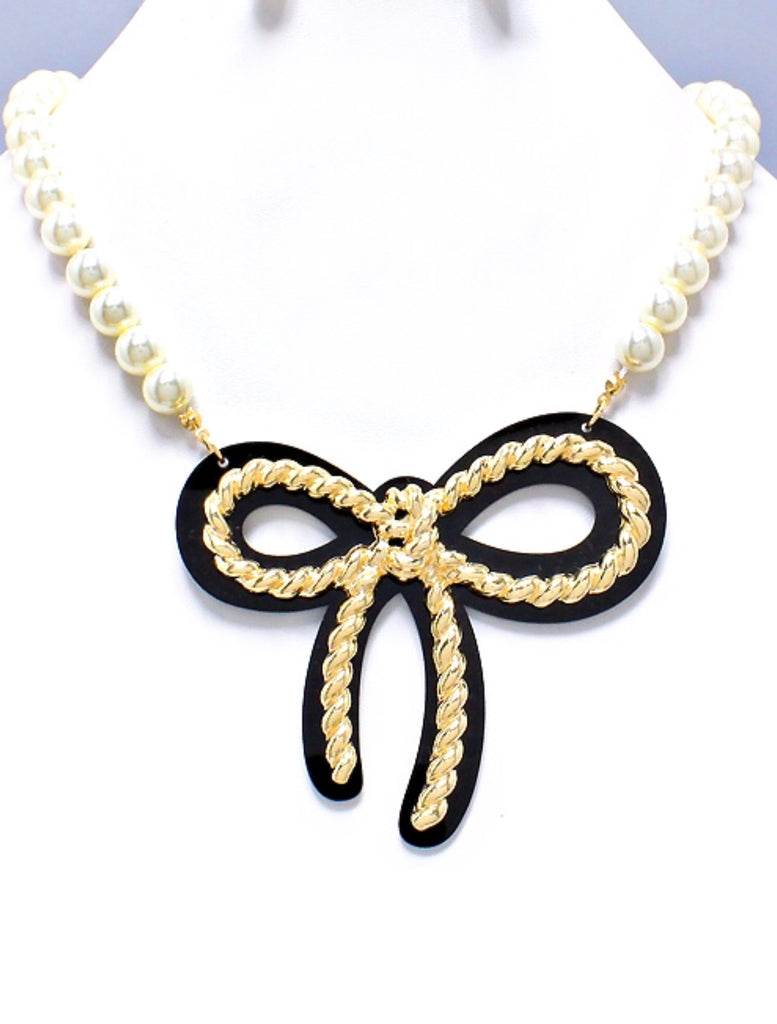 Chanel Style Bow Necklace