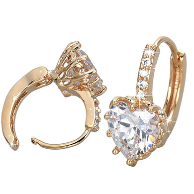Gold Crystal Heart Shape With Zircon Earrings White