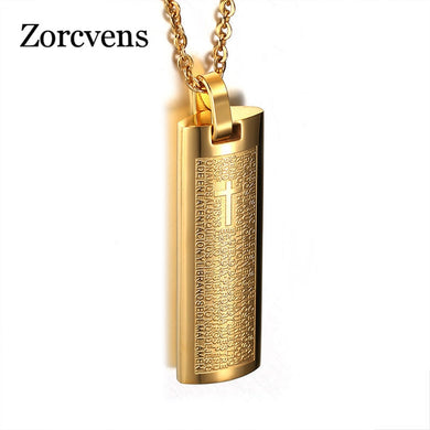 ZORCVENS Men 316L Vintage Lords Prayer