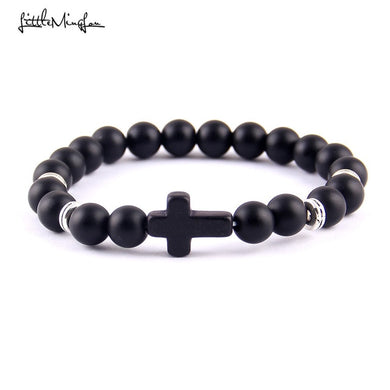 Mens Natural Lava Stone 8mm Beads w/ Cross