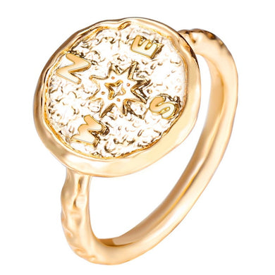Boho Gold Color Hammered Travel Wanderlust Compass Ring