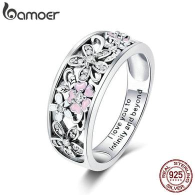 BAMOER: 925 Sterling Silver - Daisy Flower & Infinity Love Ring