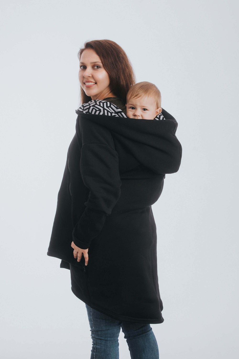 Black and White Hematite Lenny Lamb Pregancy, maternity and babywearing sweater