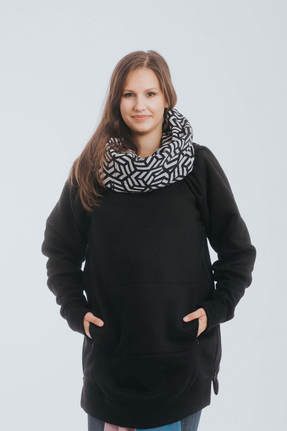 Black and White Hematite Lenny Lamb babywearing sweater