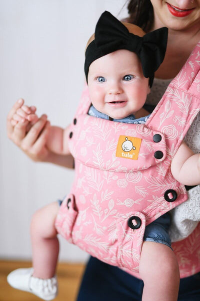 Bloom pink and white rose flower Tula Explore baby carrier, ergonomic baby carrier, easy baby carrier, front facing baby carrier, baby carrier for mom
