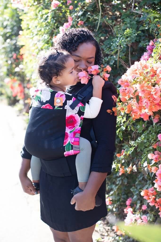 Pink roses with black Tula free to grow baby carrier, Tula Free to Grow baby sling, Best baby carrier, ergonomic baby carrier