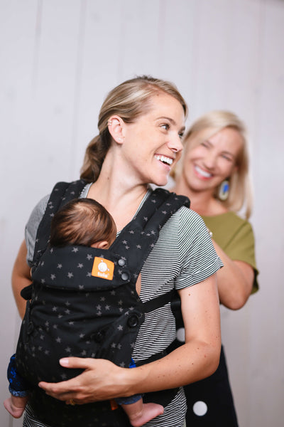 Black and grey stars Discover Tula Explore baby carrier, ergonomic baby carrier, easy baby carrier, front facing baby carrier, baby carrier for mom