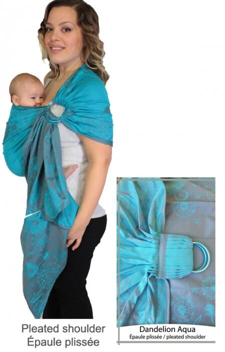 Blue Dandelion Flower Chimparoo ring sling baby carrier, easy baby carrier, best baby carrier, baby wrap, baby gift, baby shower idea