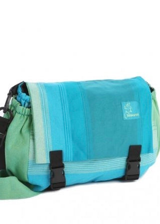 Lime green and blue Diaper or baby carrier bag, made in Canada Saskatoon