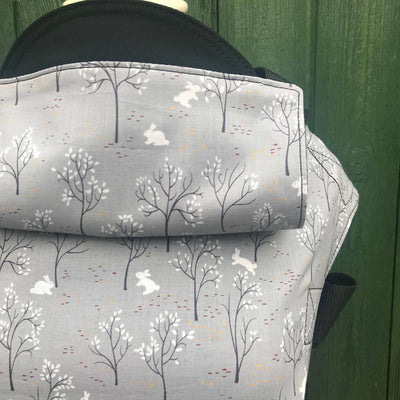 Grey Woodland bunny lightweight baby carrier