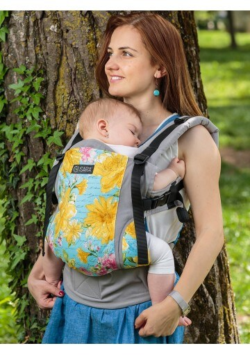 Yellow and green flower Isara adjustable baby carrier for newborn toddler, baby sling, baby wrap
