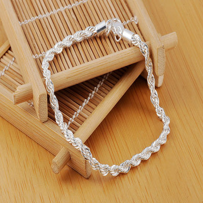 Women Fashion Sterling Silver Plated Cuff Charm Chain Bracelet Jewelry