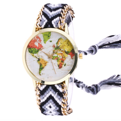 Weaved Rope Band Bracelet Quartz Dial Wrist Watch