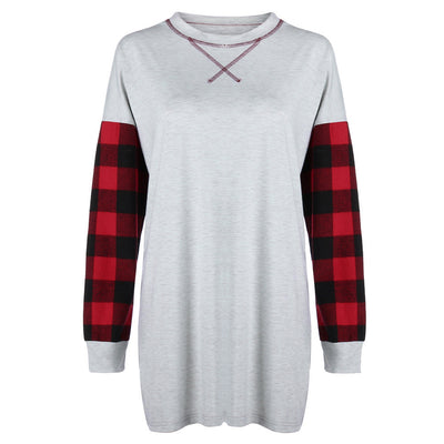 Women Patchwork Loose Long Sleeve T-Shirt