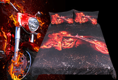 Flame Motorcycle Bedding Set