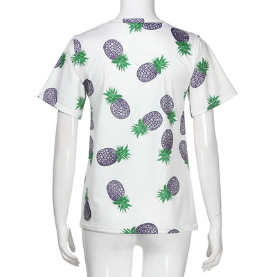 Short Sleeve Pineapple Printed Casual T Shirt