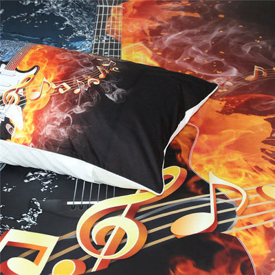 Fire and Water Guitar 3D Bedding Set