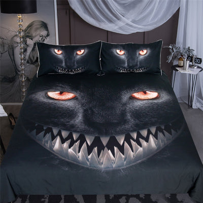 Black Cat Horrible Animal Bedding Set