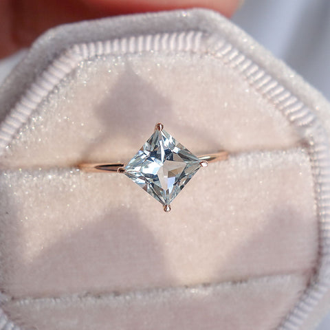 Aquamarine North Star Ring in 14K Rose Gold