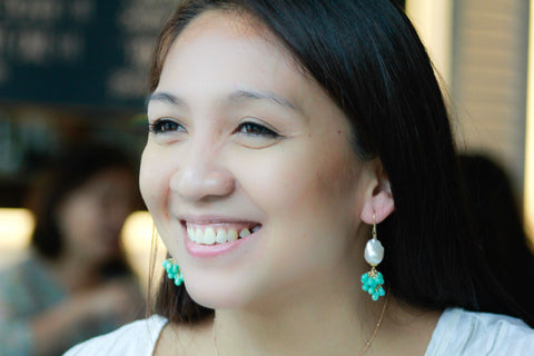Aishah wearing BAROQUE PEARL AND AMAZONITE CLUSTER HOOK EARRINGS