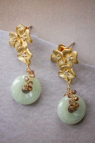 Jade with Tundra Sapphire Vine Floral Earrings